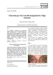Tekrarlayan Tek Taraflı Konjonktivit: Olgu Sunumu - Tıp Araştırmaları ...