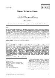Individual Therapy and Cancer - Tıp Araştırmaları Dergisi