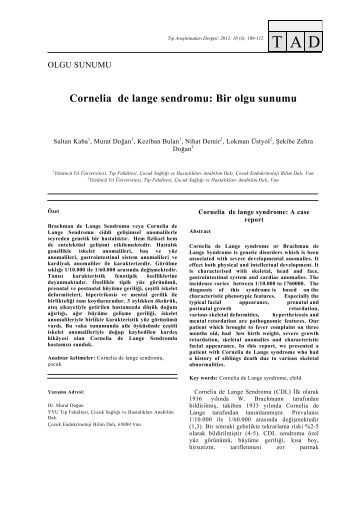 Cornelia de lange sendromu - Tıp Araştırmaları Dergisi