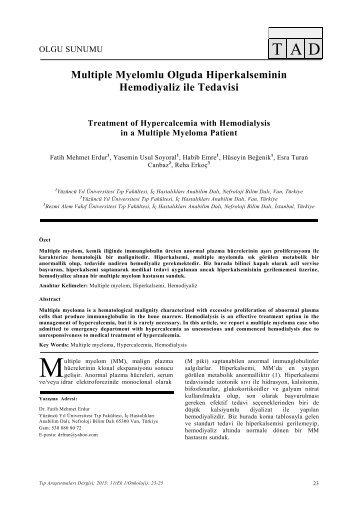 Multiple Myelomlu Olguda Hiperkalseminin Hemodiyaliz ... - tader.org