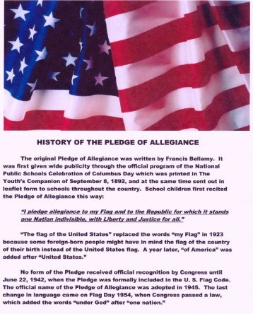 HISTORY OF THE PLEDGE OF ALLEGIANGE