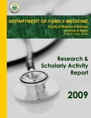 Research & Scholarly Activity Report - Department of Family Medicine
