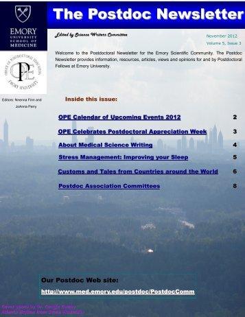 Emory Postdoc Association Newsletter, Volume 5., No. 3