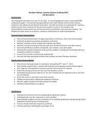 Resident Advisor, Summer Science Academy 2012 Job Description