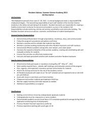 Resident Advisor, Summer Science Academy 2013 Job Description