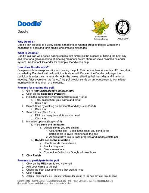 Doodle Scheduler How-To Handout - NOVEL - University of Utah