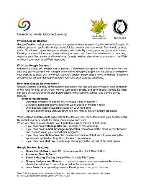 5 Google Desktop Novel University Of Utah