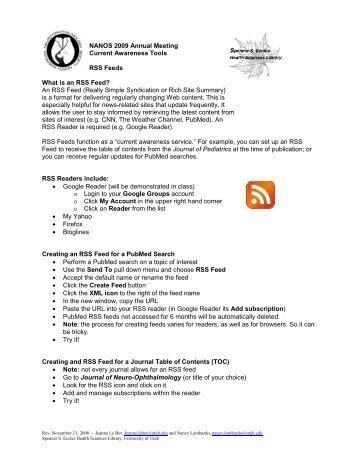 NANOS 2009 - RSS Feeds - NOVEL - University of Utah