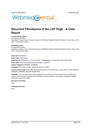 Recurrent Fibrolipoma of the Left Thigh - A Case Report