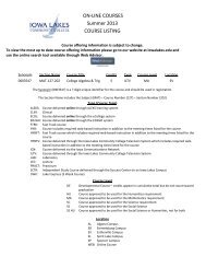 ON-LINE COURSES Summer 2013 COURSE LISTING - Iowa Lakes ...