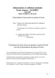 Alimentation et collation matinale (Ecole Annexe de Guéret)