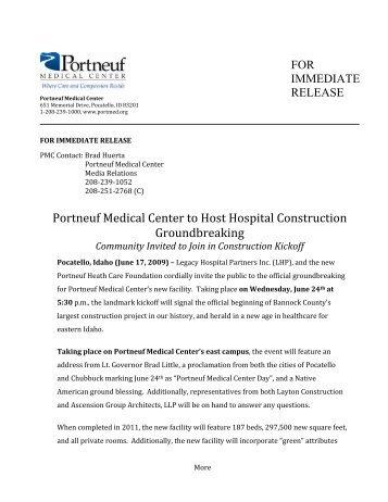 06-17-2009 Portneuf Medical Center to Host Hospital Construction ...