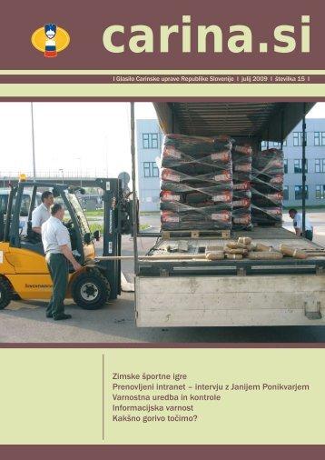Åtevilka 15, julij 2009 - Carinska uprava Republike Slovenije