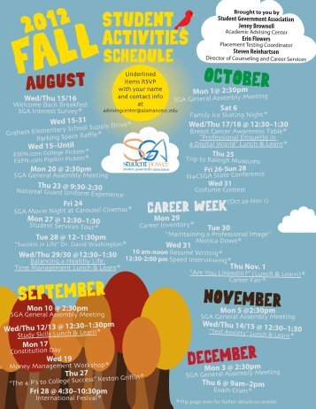 SGA Fall 2012 Calendar of Events - Alamance Community College