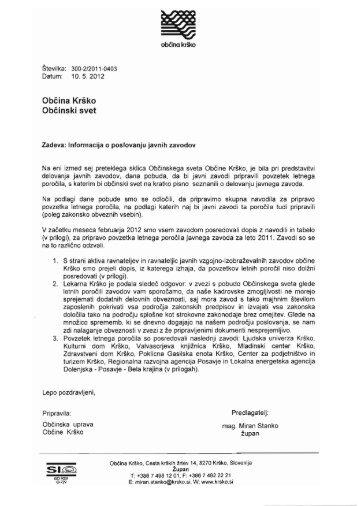 Informacija o poslovanju javnih zavodov - Občina Krško