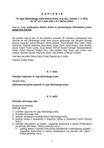 Zapis 14. seje OS - Občina Krško