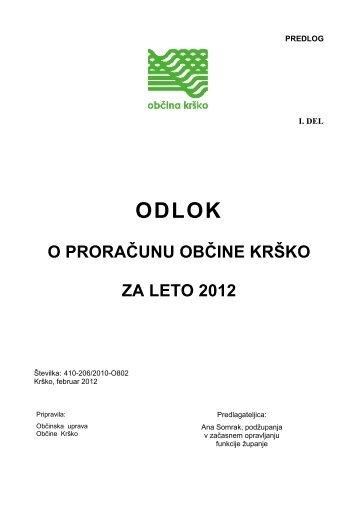 odlok o proračunu občine krško za leto 2012 - Občina Krško