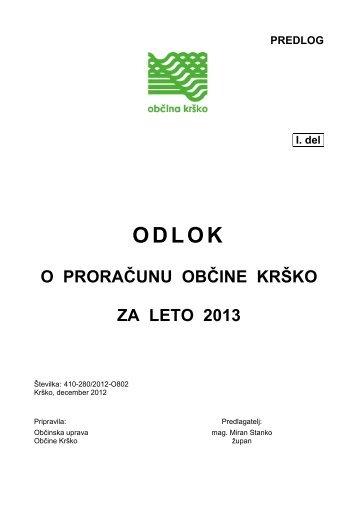 Predlog odloka o proračunu Občine Krško za leto 2013 - Občina Krško