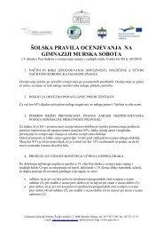 Å¡olska pravila o ocenjevanju - Gimnazija Murska Sobota