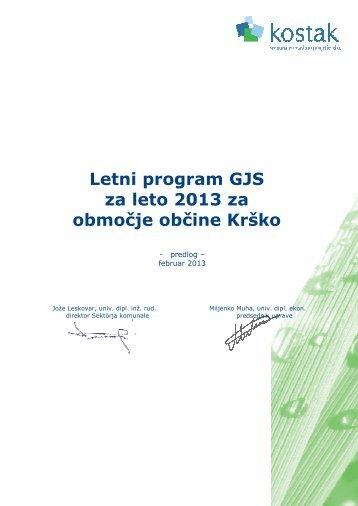 Letni program gospodarskih javnih služb za leto 2013. - Občina Krško