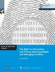 The Right to Information and Privacy - World Bank Institute