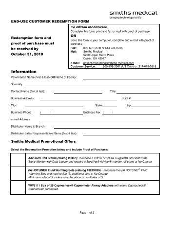 Redemption Form [PDF] - SurgiVet