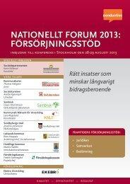 Försörjningsstöd töd nationellt Forum 2013: um 2013: - Conductive