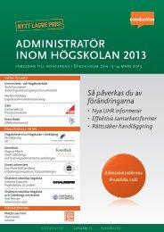 B INOM högskOlaN 2013 N 2013 adMINIstratör - Conductive