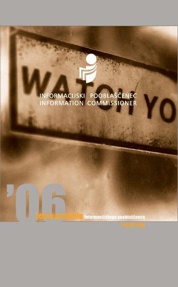 Letno poročilo Informacijskega pooblaščenca za leto 2006