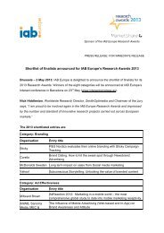 Press Release_IAB Europe Research Awards 2013 ... - IAB Belgium