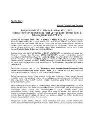 Berita Pers Untuk Diterbitkan Segera Pengukuhan ... - binus university