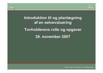Introduktion til og planlægning af en selvevaluering ... - SCKK
