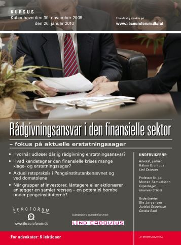 RÃ¥dgivningsansvar i den finansielle sektor - IBC Euroforum