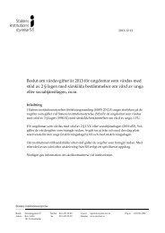 Vårdavgifter år 2013 för ungdomar som vårdas med stöd av 2 § LVU ...