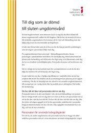Information till dig som är dömd till sluten ungdomsvård - Statens ...