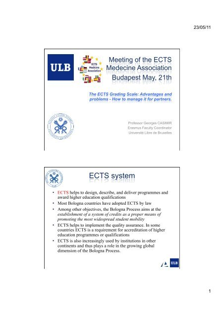 The ECTS Grading scale.pptx - ECTS Medicine ociation Ulb Application Form Erasmus on