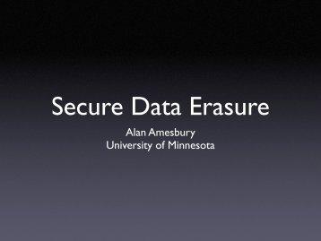 Secure Data Erasure - OIT - University of Minnesota