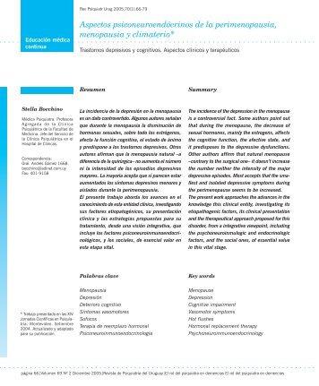 Aspectos psiconeuroendócrinos de la perimenopausia, menopausia ...