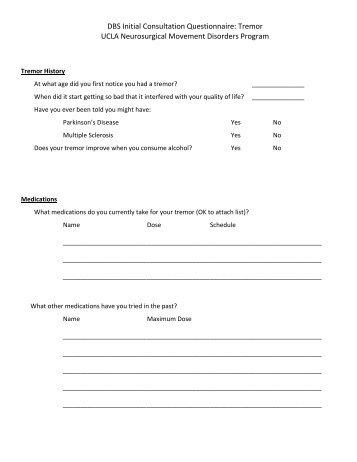 DBS Initial Consultation Questionnaire: Tremor - UCLA Neurosurgery
