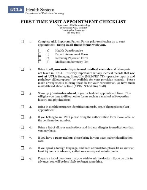 first time visit appointment checklist - Radiation Oncology