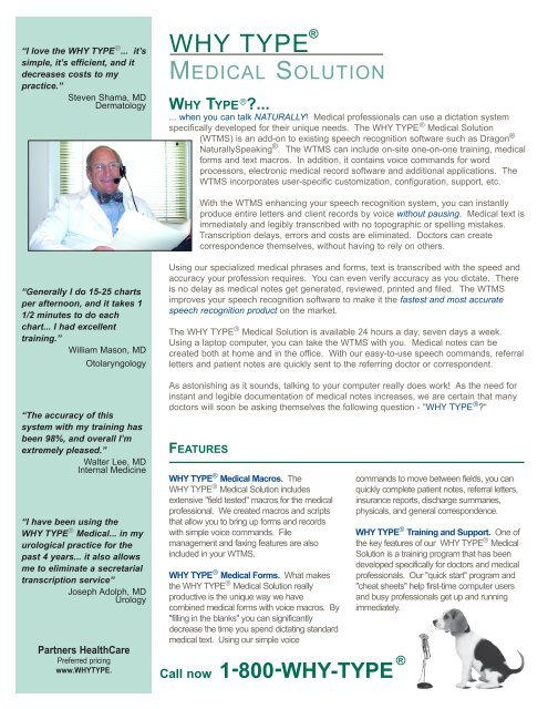 WHY TYPE ® Medical Flyer - AM Technologies