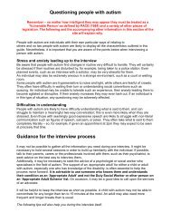 Questioning people with autism Guidance for the interview process