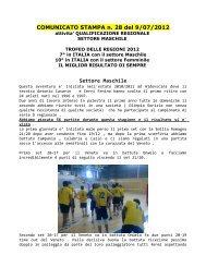 COMUNICATO STAMPA n. 28 del 9/07/2012 Settore ... - Slosport