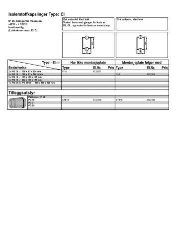 Isolerstoffkapslinger Type: CI Tilleggsutstyr - Moeller