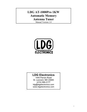 LDG AT-1000Pro 1KW Automatic Memory ... - Permo Electronics