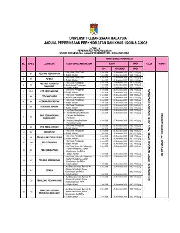Jadual A 2008 - Sistem e-Warga - Universiti Kebangsaan Malaysia