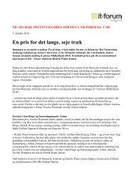Læs pressemeddelelsen her. - it-forum midtjylland