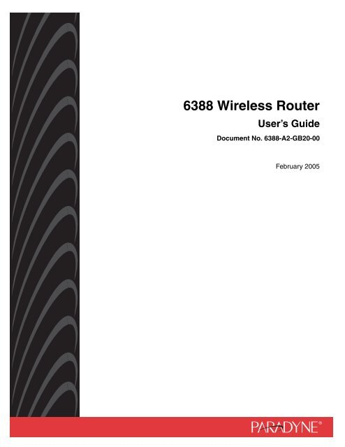 6388 Wireless Router User's Guide - Zhone Technologies