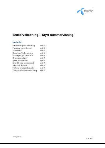Brukerveiledning for Styrt nummervisning - Telenor