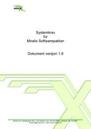 Spesifikasjoner for Miralix produkter - Teltronik AS